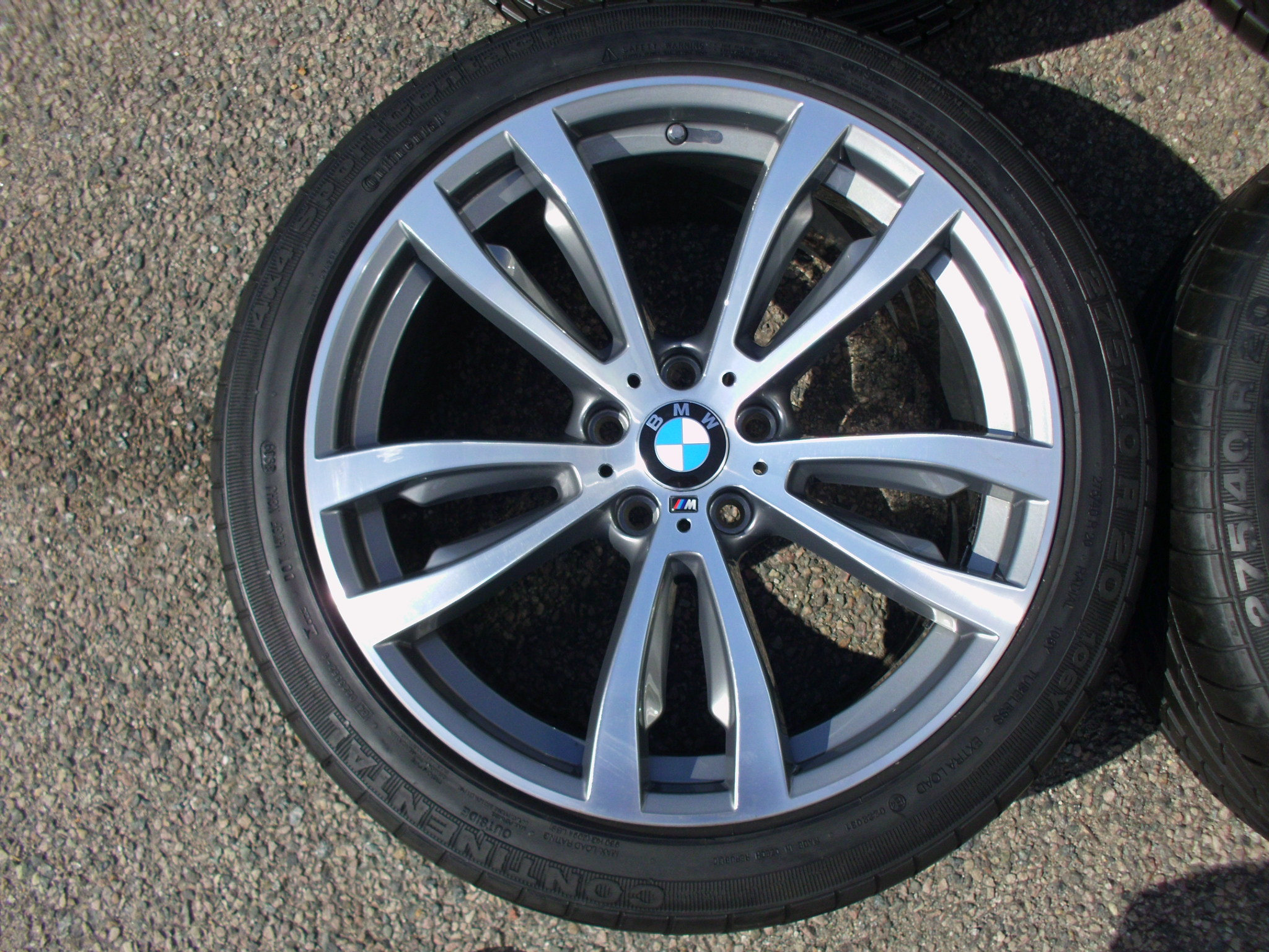 "USED 20"" GENUINE STYLE 469 F15 X5/X6 M DOUBLE SPOKE M SPORT ALLOYS, FULLY REFURBED, 11"" REAR, INC GOOD CONTINENTAL TYRES"