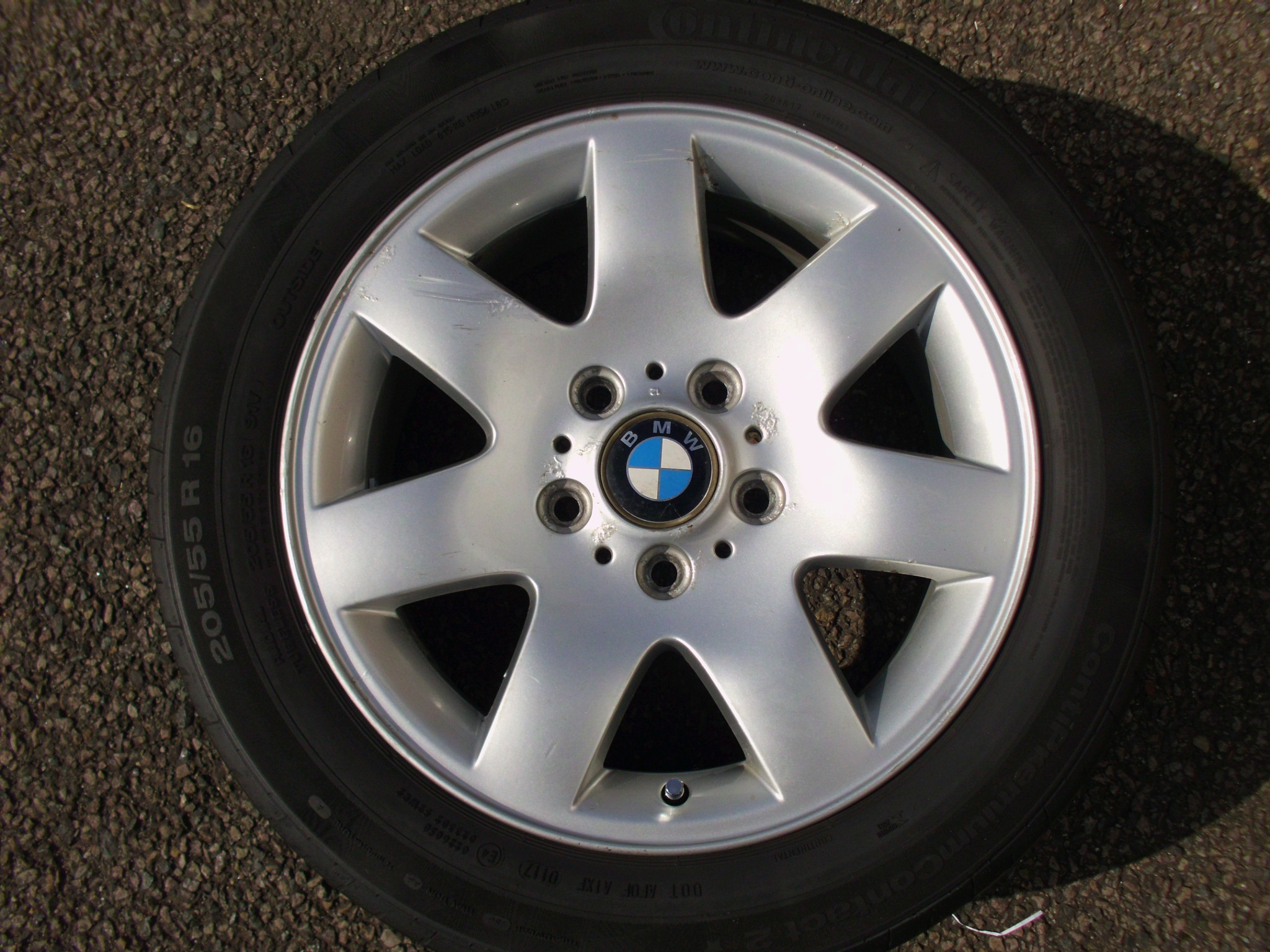 "USED SINGLE 16"" GENUINE BMW STYLE 45 7 SPOKE ALLOY WHEEL ,CLEAN,INC 205/55/16 TYRE"