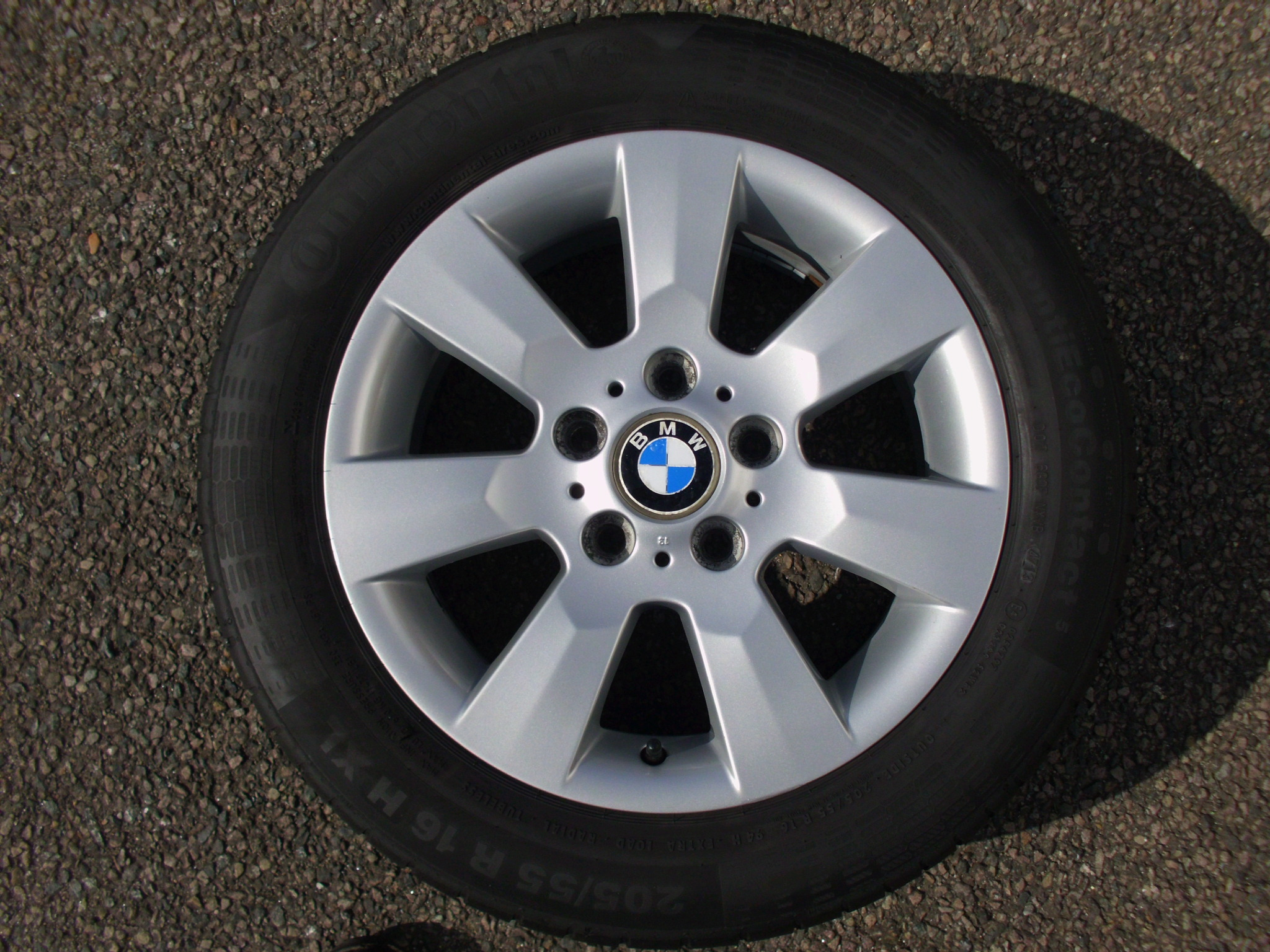 "USED SINGLE 16"" GENUINE BMW STYLE 169 7 SPOKE ALLOY WHEEL ,VGC,INC GOOD 205/55/16 TYRE"