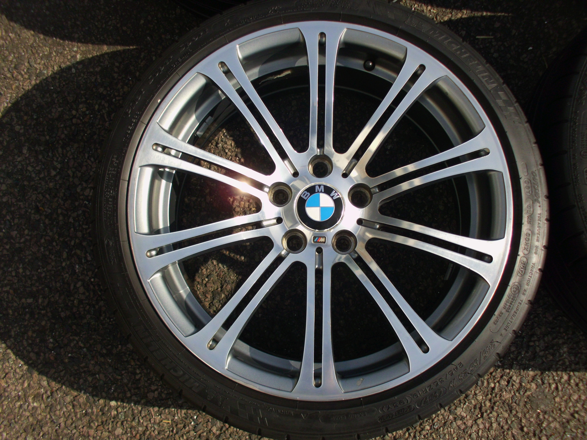 "USED 19"" GENUINE BMW STYLE 220 E92 M3 POLISHED ALLOY WHEELS, WIDE REAR, VG ORIGINAL CONDITION INC VG MICHELIN PILOT SUPER SPORT TYRES"