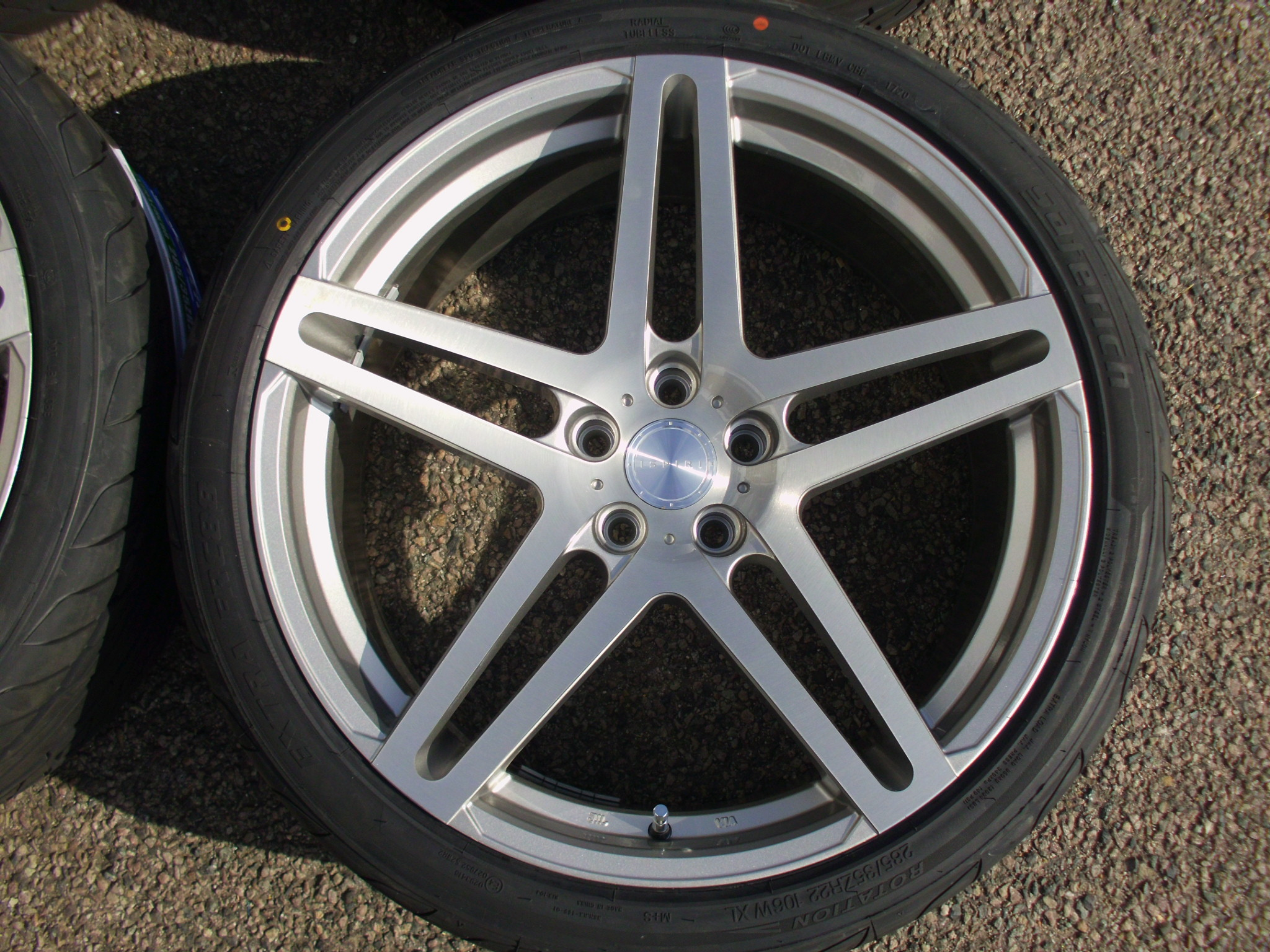 "NEW 22"" ISPIRI ISR12 ALLOY WHEELS IN SILVER WITH FULL BRUSHED POLISHED FACE INC NEW 285/35/22 TYRES"