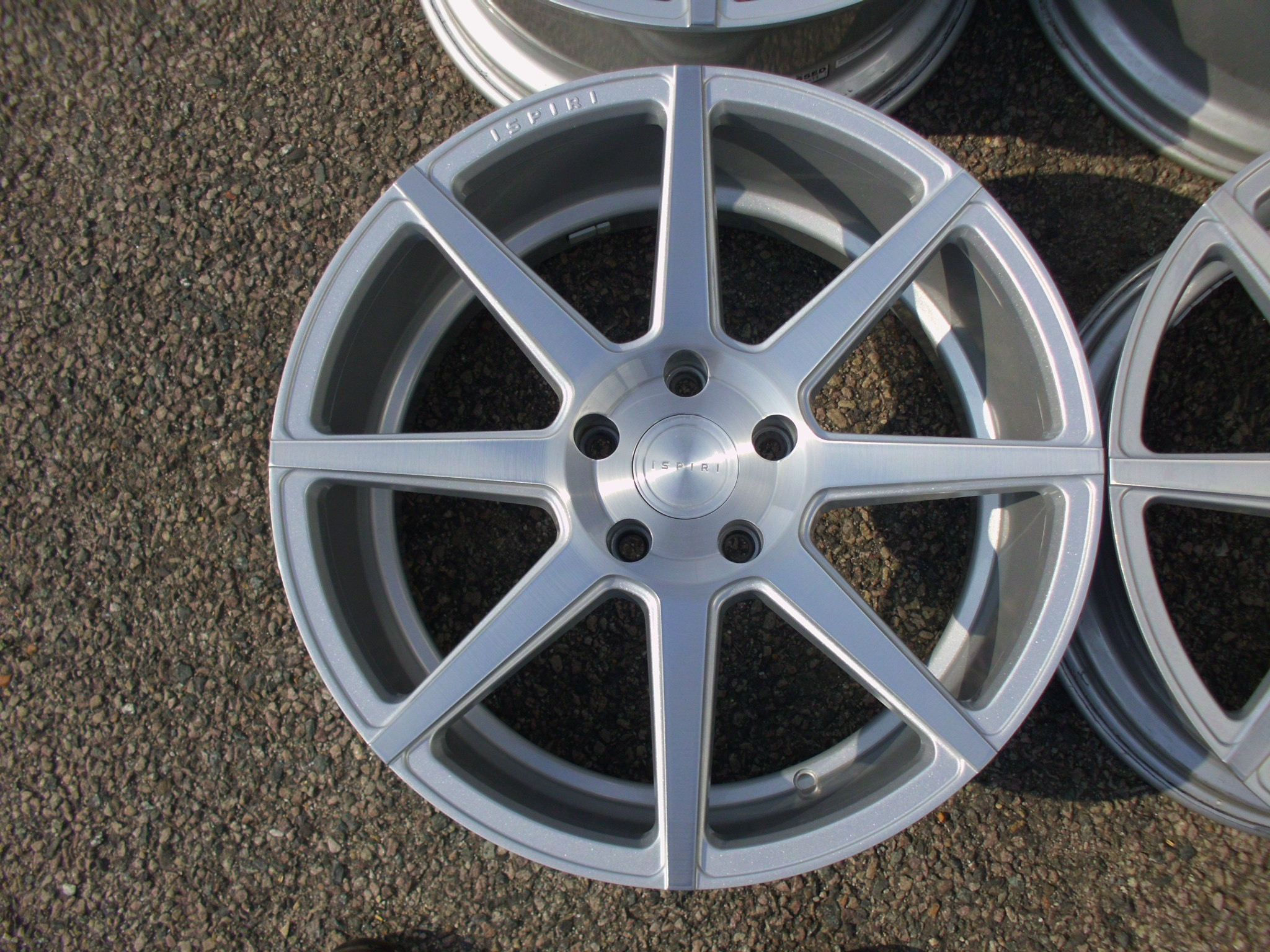 "USED 19"" ISPIRI ISR8 ALLOY WHEELS IN PURE BRUSHED,NEAR NEW, SILVER WITH WIDER 9.5"" et43 REARS"
