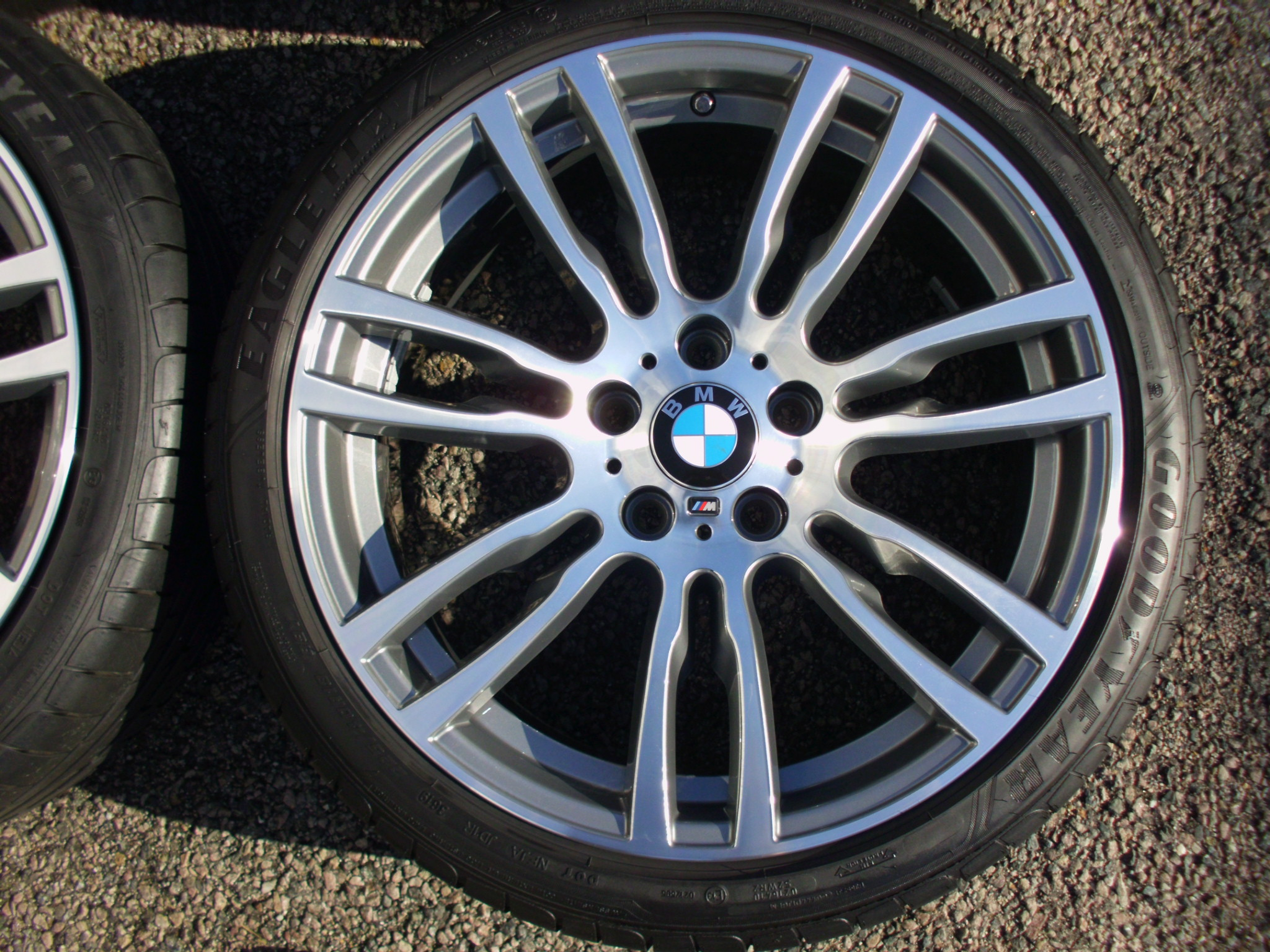 "USED 19"" GENUINE BMW STYLE 403 F30/31 M DOUBLE SPOKE ALLOYS WHEELS, FULLY REFURBED INC GOOD GOODYEAR RUNFLATS"