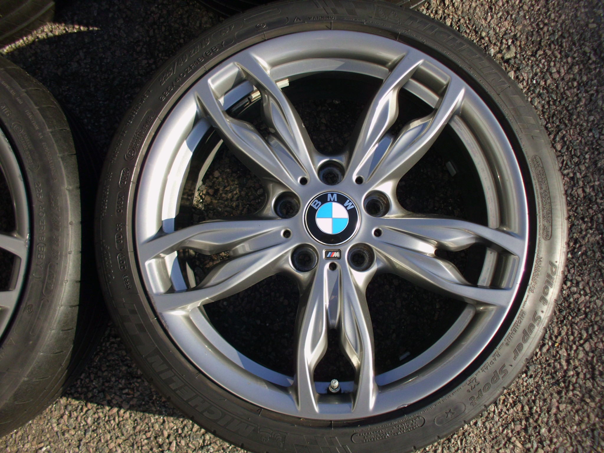 "USED 18"" GENUINE BMW STYLE 436M DOUBLE SPOKE ALLOY WHEELS, VGC ,WIDE REAR INC MICHELIN PILOT SPORT TYRES AND TPMS"