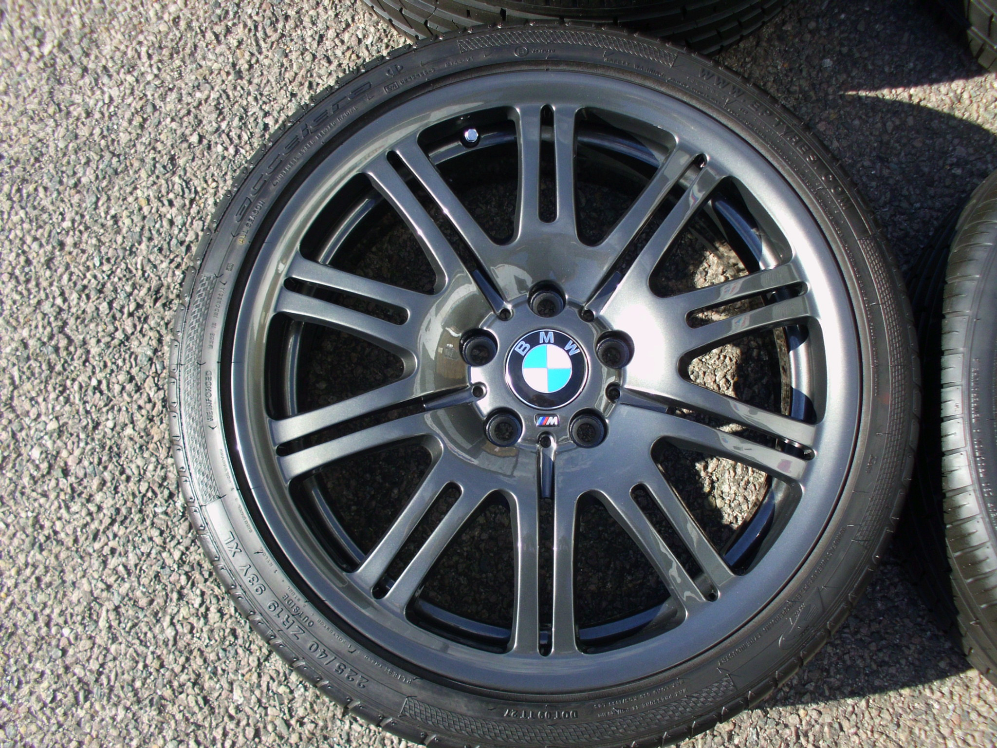 "USED 19"" GENUINE BMW STYLE 67M E46 M3 ALLOY WHEELS IN DARK ANTHRACITE ,WIDE REAR,FULLY REFURBED INC EXCELLENT TYRES"
