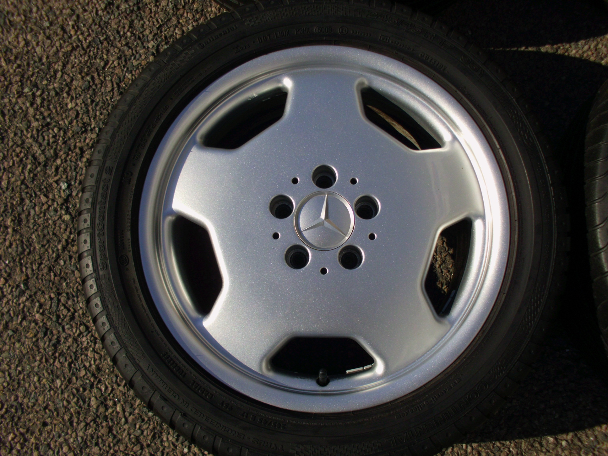 "USED 17"" INTRA MERCEDES MONO BLOCK STYLE ALLOY WHEELS,GERMAN MADE, VERY CLEAN INC GOOD TYRES, ET35"