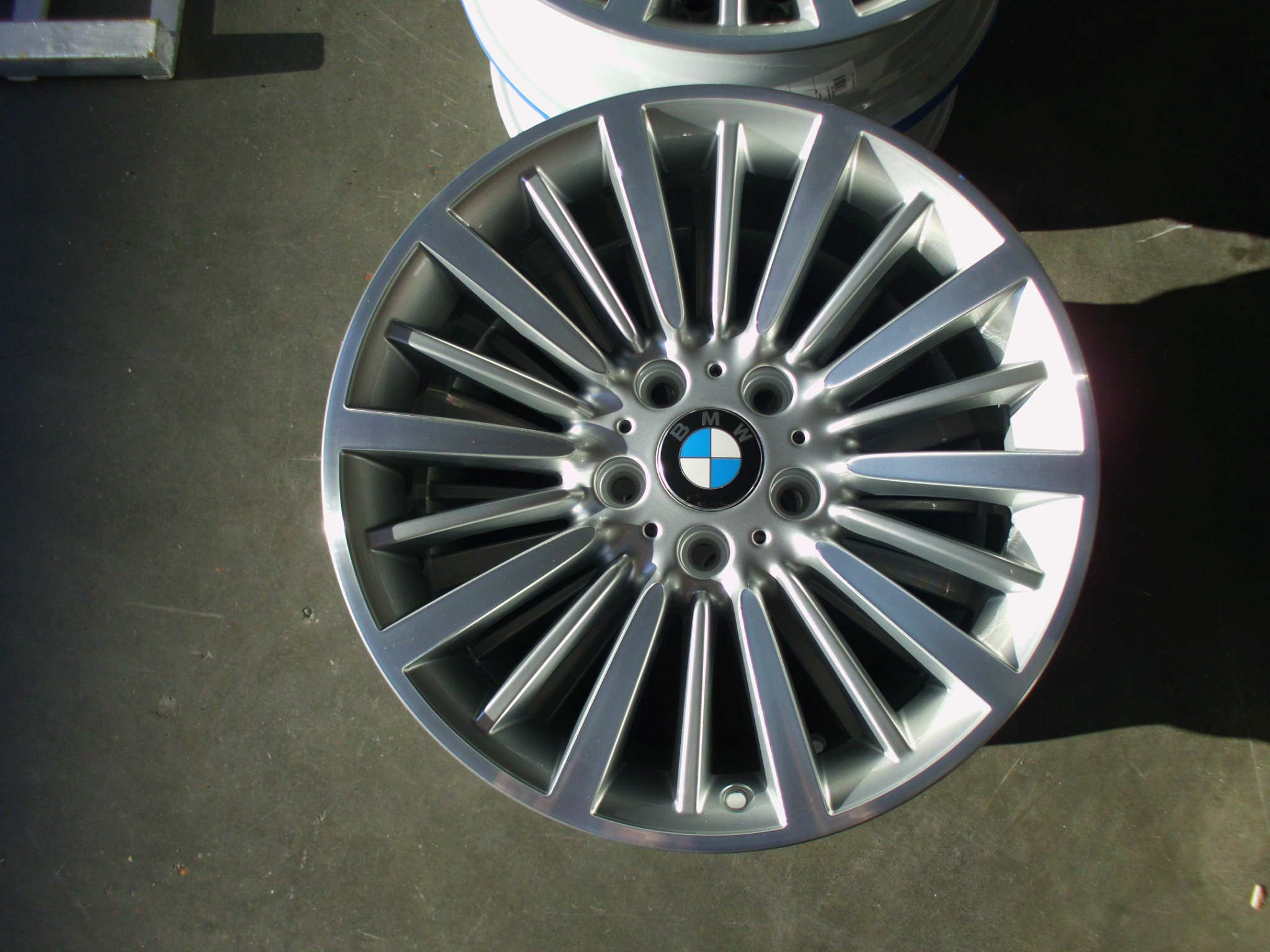 "USED 18"" GENUINE BMW STYLE 416 MULTI SPOKE ALLOY WHEELS,FULLY REFURBED IN SILVER WITH POLISHED FACE"
