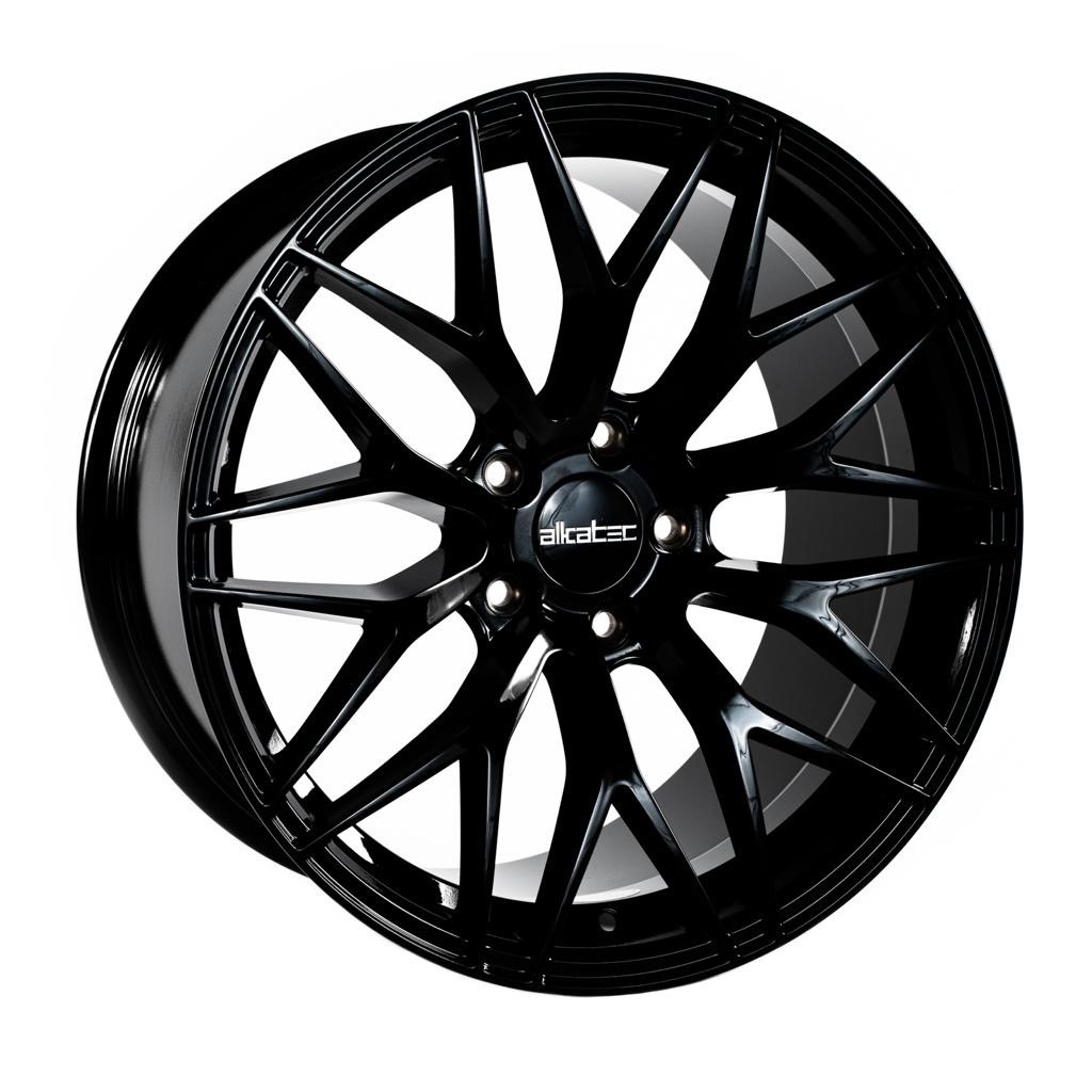 "NEW 18"" ALKATEC EVO-1 ALLOY WHEELS IN GLOSS BLACK, WIDER 9.5"" REARS ET35/40"