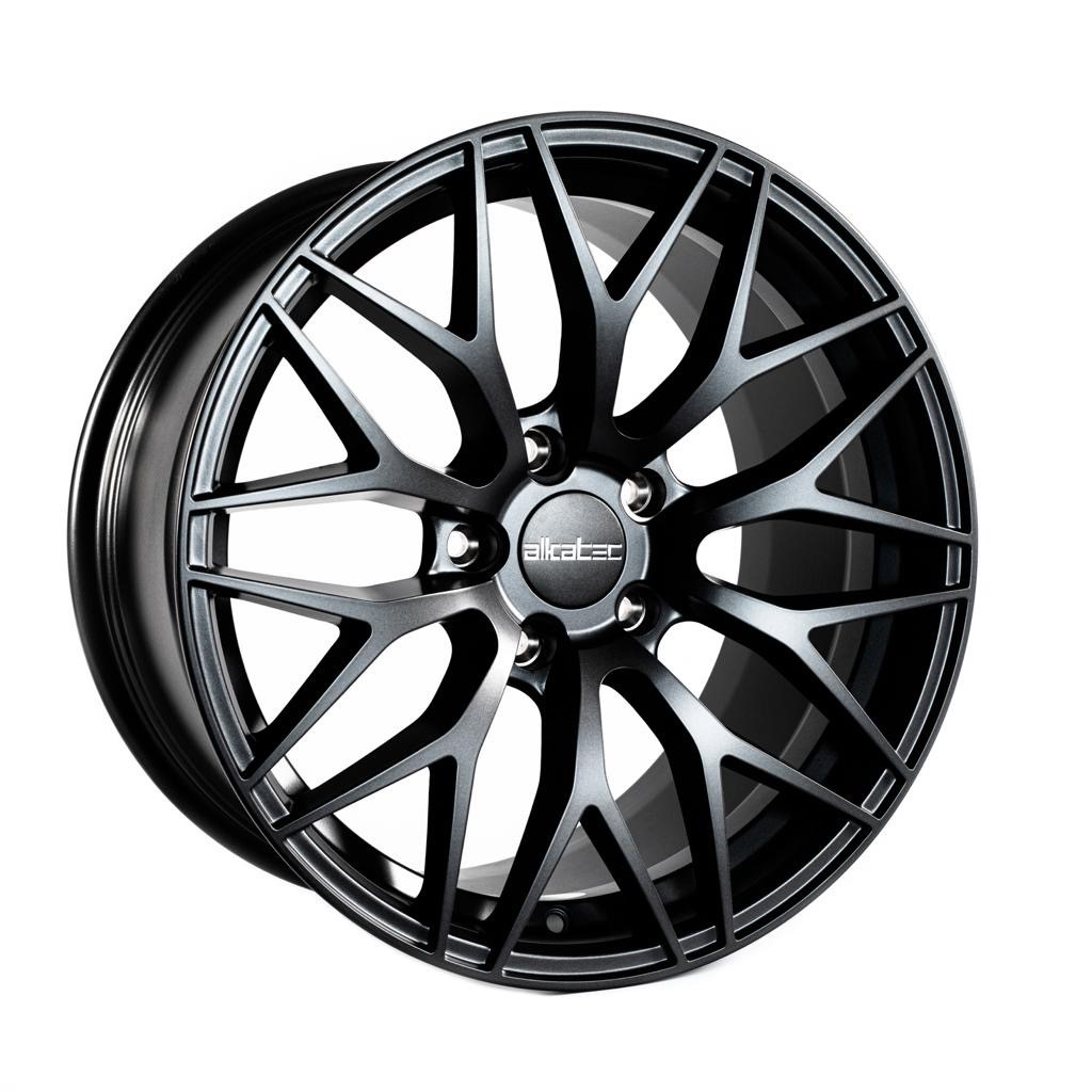 "NEW 18"" ALKATEC EVO-1 ALLOY WHEELS IN DARK MATT ANTHRACITE, WIDER 9.5"" REARS ET35/40"