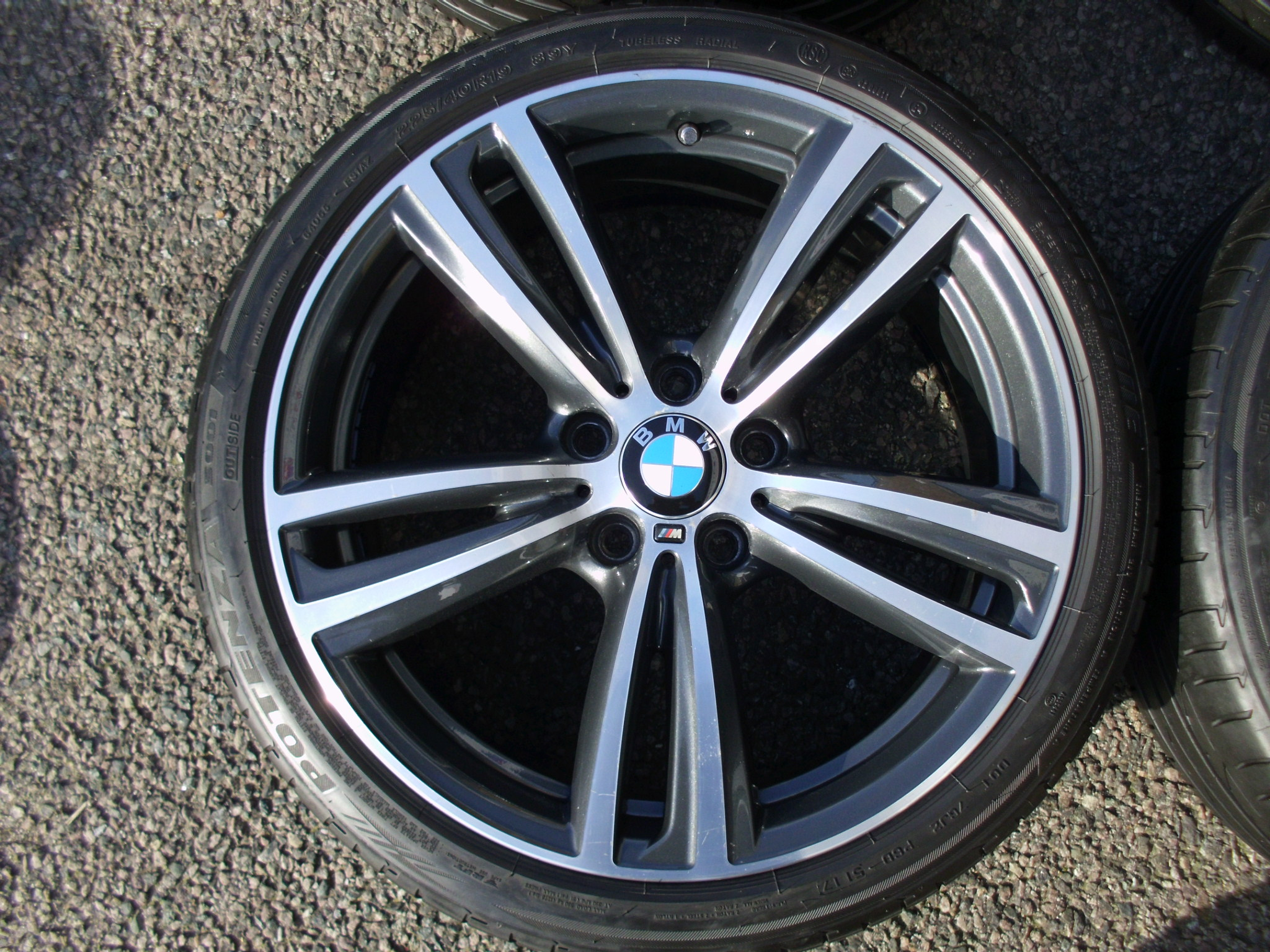 "USED 19"" GENUINE BMW STYLE 442 F30/31 M DOUBLE SPOKE ALLOY WHEELS, GC INC GOOD BRIDGESTONE RUNFLAT TYRES"