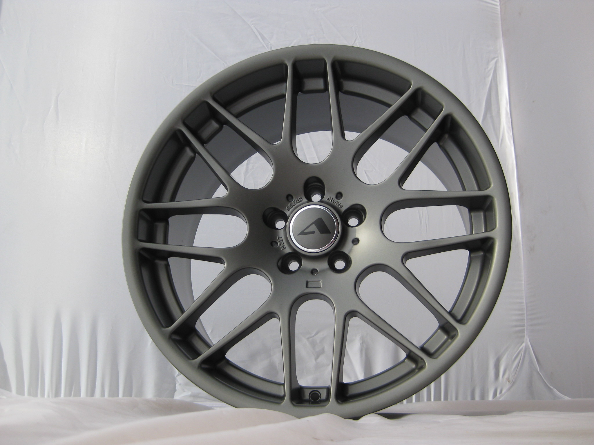 "NEW 19"" ATOMIC CS Y SPOKE ALLOY WHEELS WITH DEEP CONCAVE IN SATIN GUNMETAL 9.5""et38 All Round"
