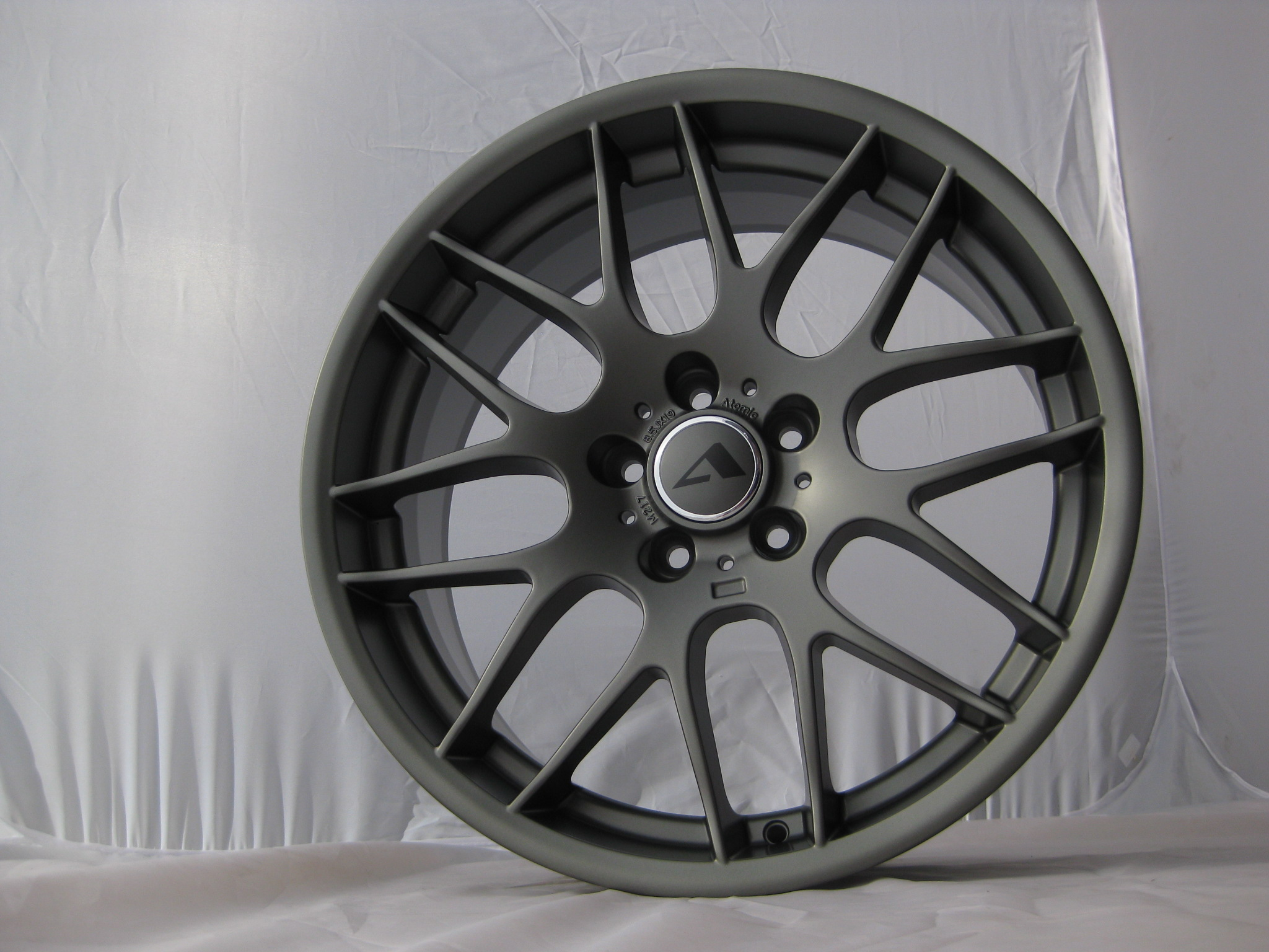 "NEW 19"" ATOMIC CS Y SPOKE ALLOYS IN SATIN GUNMETAL 8.5""et38 All Round"