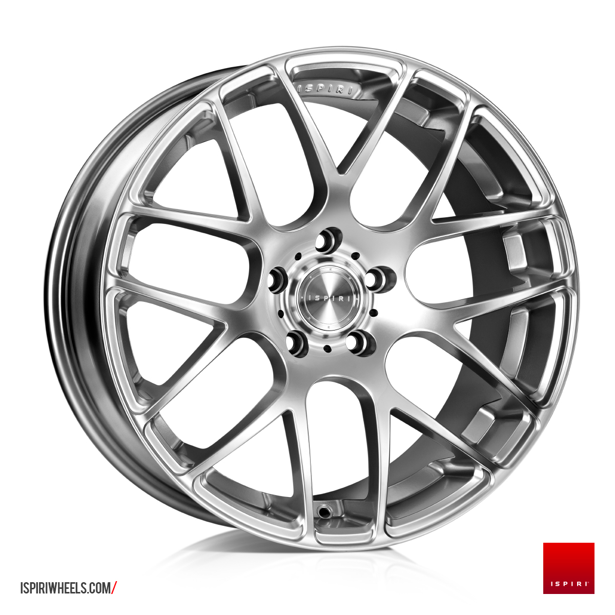 "NEW 20"" ISPIRI ISR1 CROSS SPOKE ALLOY WHEELS IN DIAMOND SILVER, WIDER 10"" REAR"