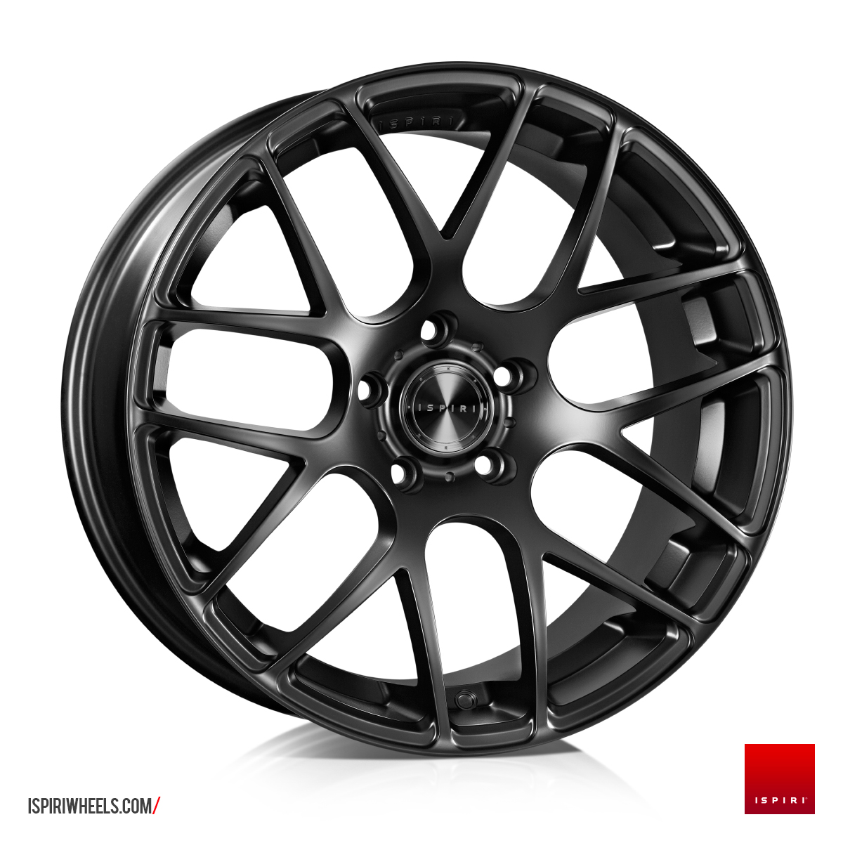 "NEW 20"" ISPIRI ISR1 CROSS SPOKE ALLOY WHEELS IN MATT BLACK, WIDER 10"" REAR"