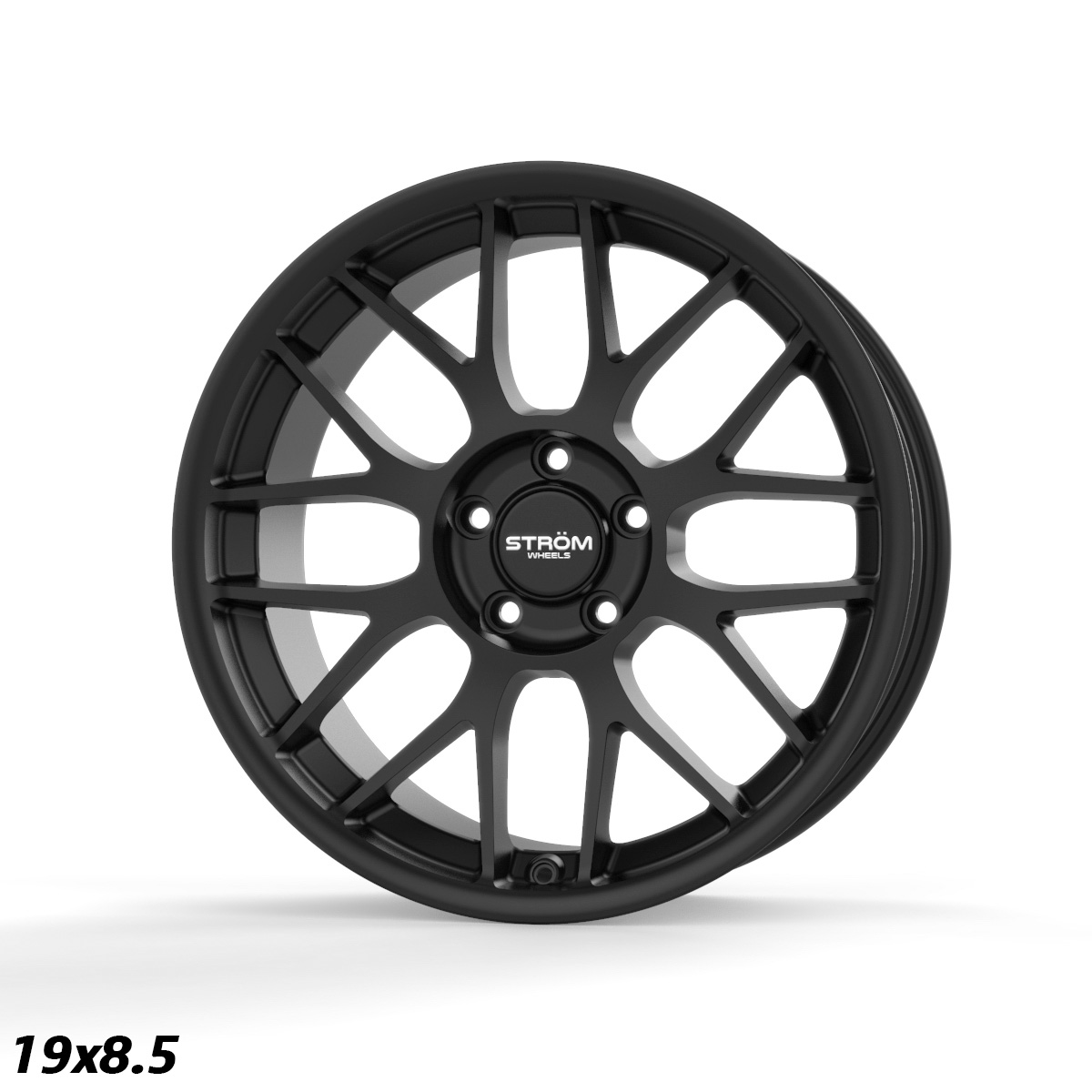 "NEW 19"" STROM STR2 ALLOY WHEELS IN SATIN BLACK WITH DEEPER CONCAVE 9.5"" OR 10"" REARS"