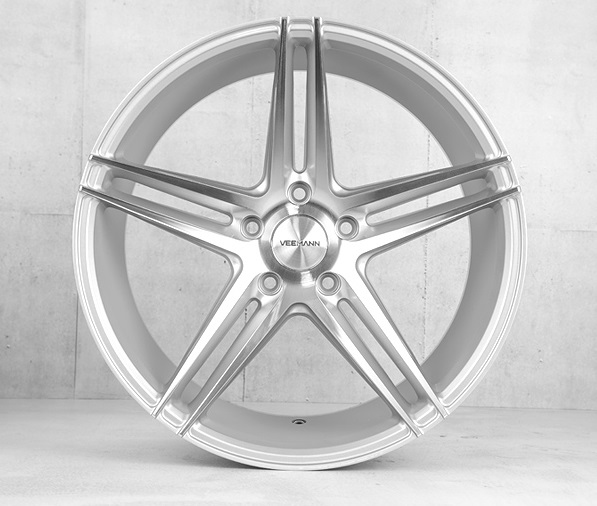 "NEW 19"" VEEMANN V-FS2 5 TWIN SPOKE CONCAVE ALLOYS IN SILVER WITH POLISHED FACE, WIDER 9.5"" REAR"