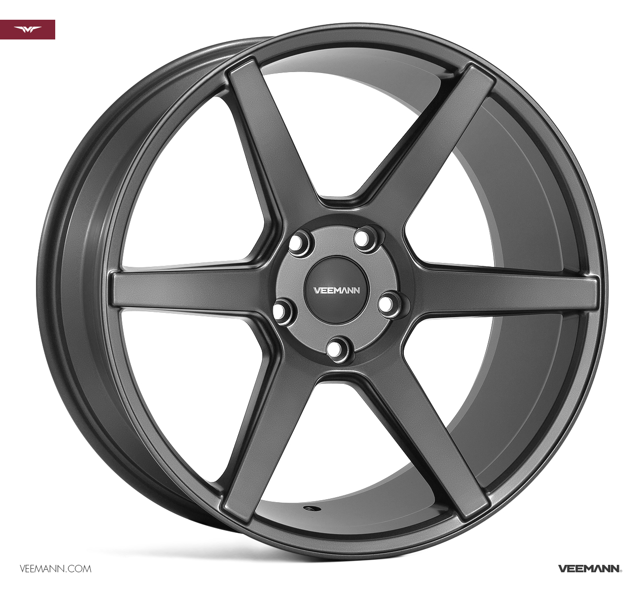 "NEW 20"" VEEMANN V-FS3 6 SPOKE CONCAVE ALLOYS IN SATIN GRAPHITE, WIDER 10"" REAR et38/38"