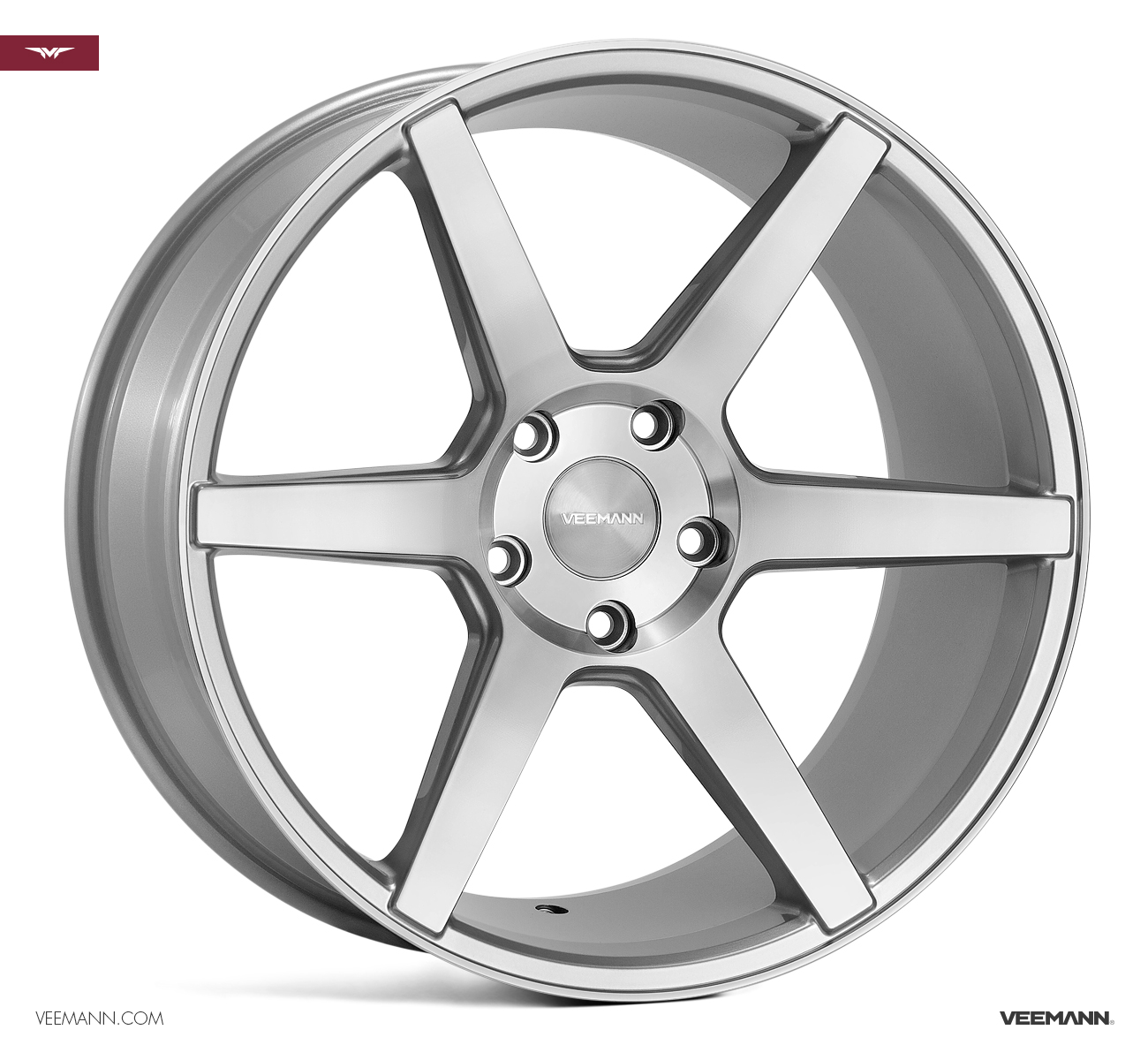 "NEW 19"" VEEMANN V-FS3 6 SPOKE CONCAVE ALLOY WHEELS IN SILVER WITH POLISHED FACE 8.5"" ALL ROUND"