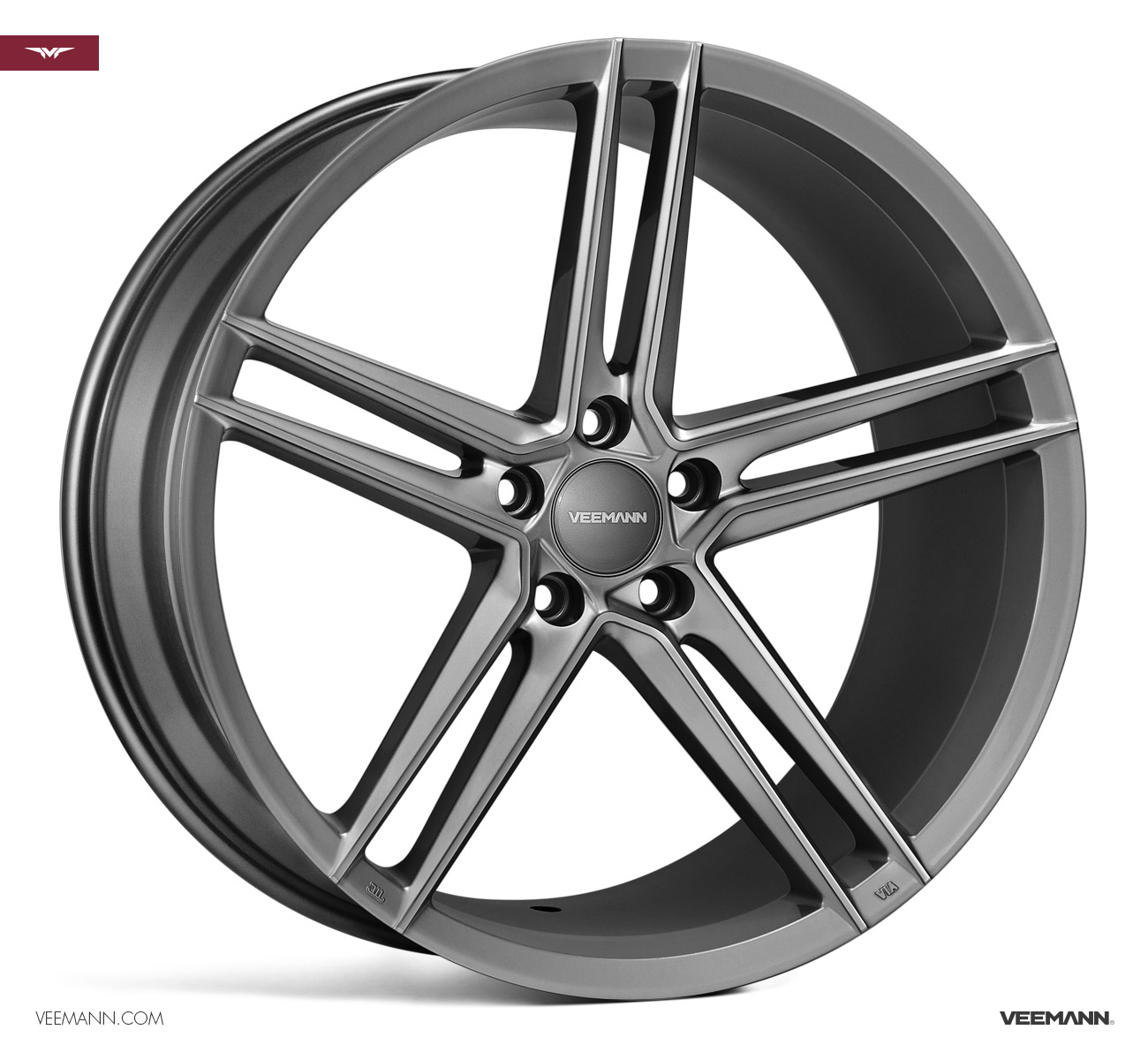 "NEW 19"" VEEMANN V-FS33 ALLOY WHEELS IN GLOSS GRAPHITE WITH WIDER 9.5"" REARS"