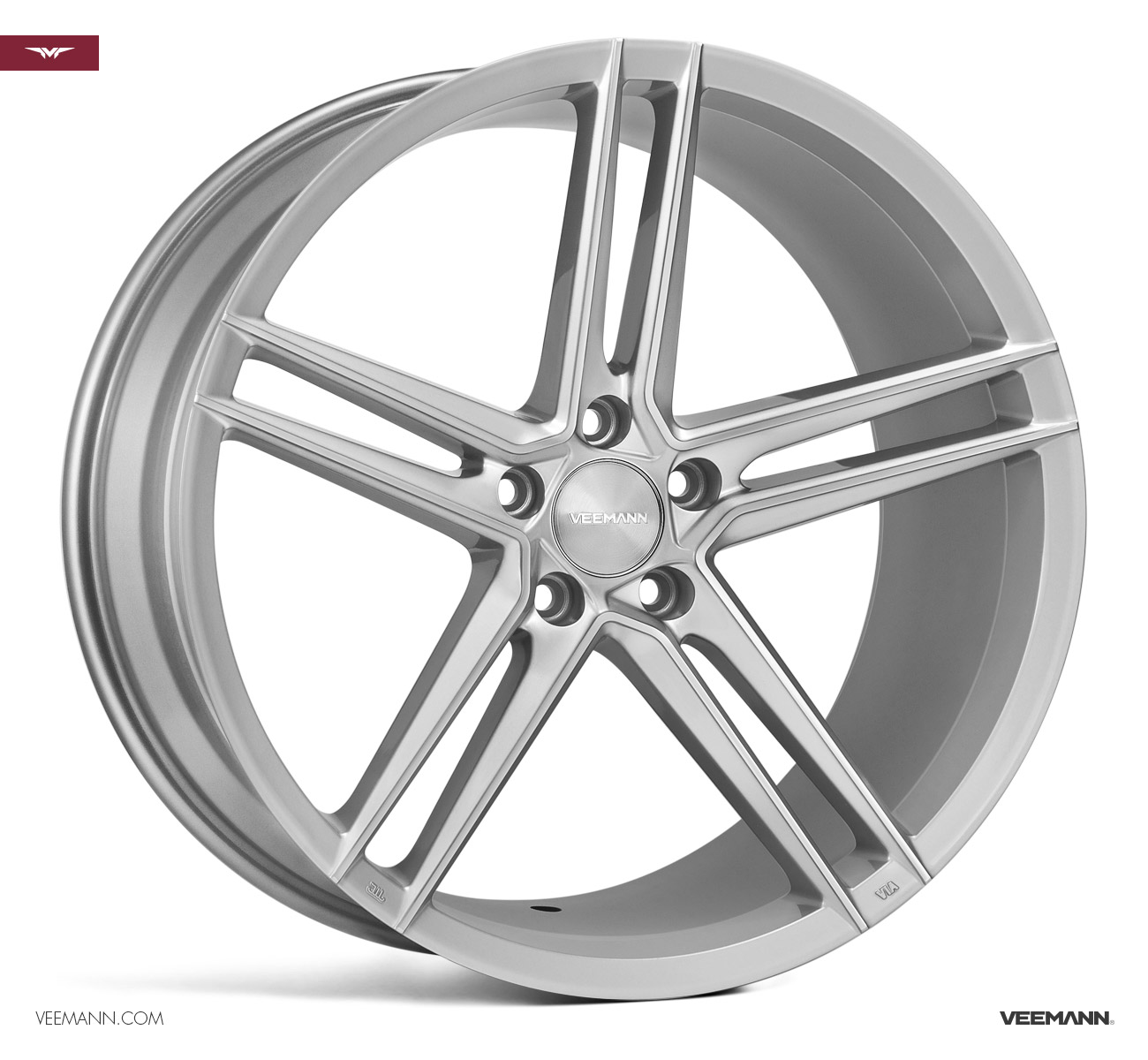 "NEW 19"" VEEMANN V-FS33 ALLOY WHEELS IN SILVER POL WITH WIDER 9.5"" REARS"