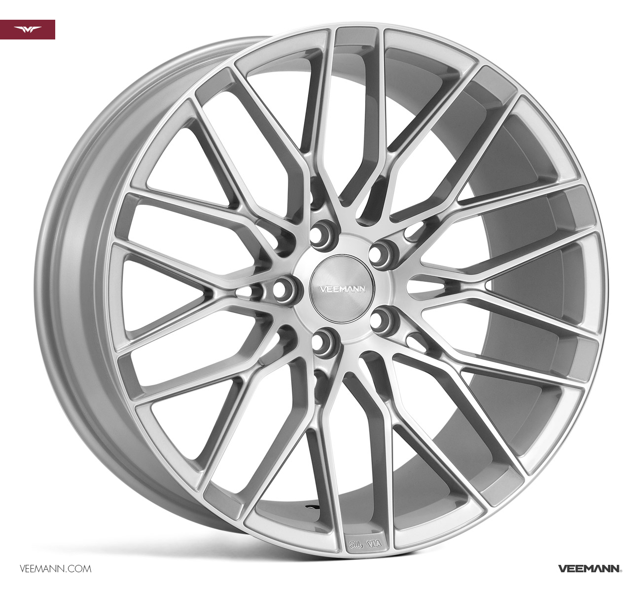 "NEW 19"" VEEMANN V-FS34 ALLOY WHEELS IN SILVER POL WITH WIDER 9.5"" REARS"