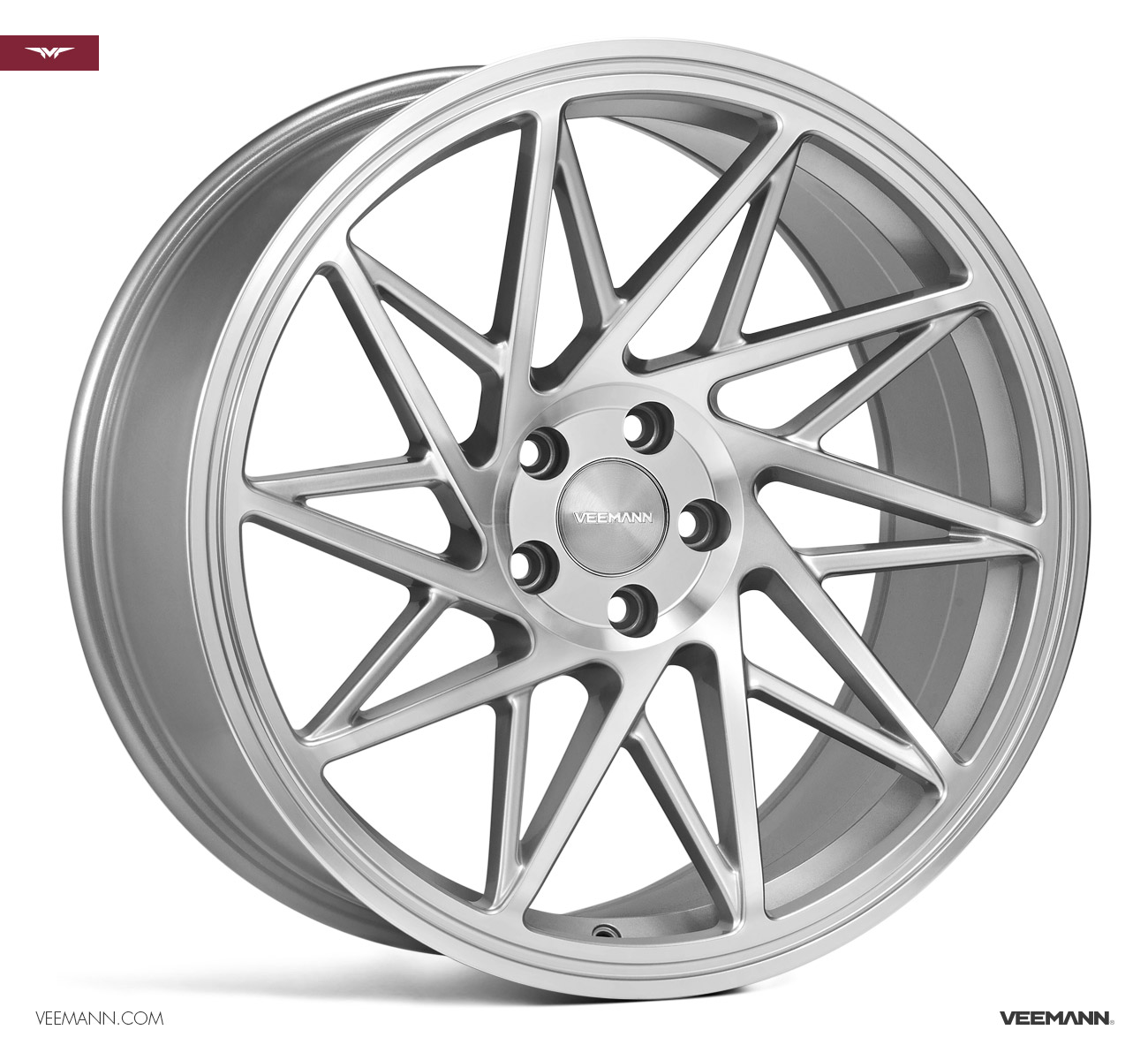 "NEW 19"" VEEMANN V-FS35 ALLOY WHEELS IN SILVER POL WITH WIDER 9.5"" REARS"