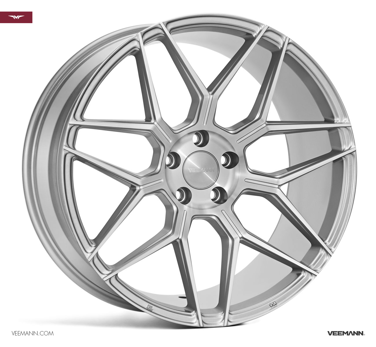 "NEW 18"" VEEMANN V-FS38 ALLOY WHEELS IN SILVER POL WITH WIDER 9"" REAR"