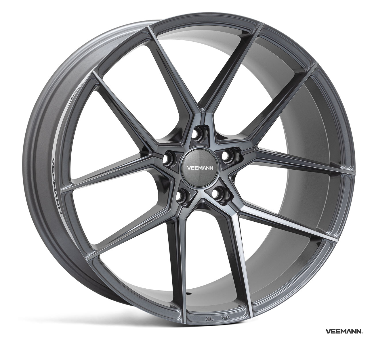 "NEW 20"" VEEMANN V-FS39 ALLOY WHEELS IN GRAPHITE SMOKE MACHINED WITH WIDER 10"" REAR"