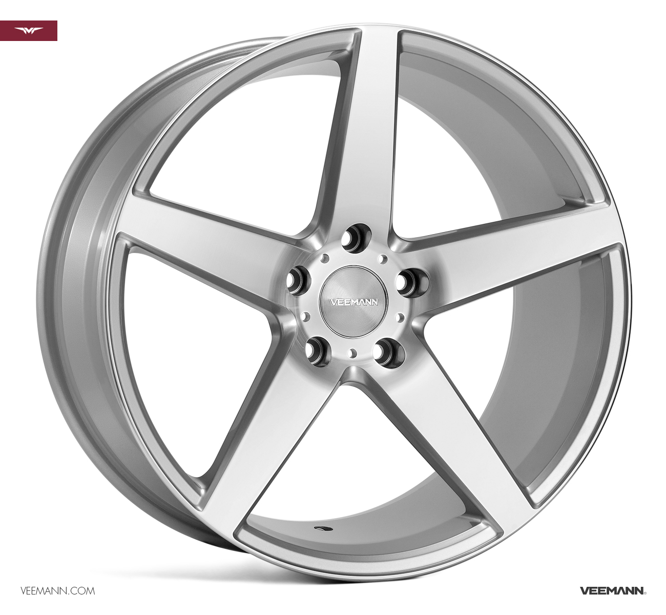 "NEW 20"" VEEMANN V-FS8 5 SPOKE CONCAVE ALLOY WHEELS IN SILVER WITH POLISHED FACE, WIDER 10"" REARS"