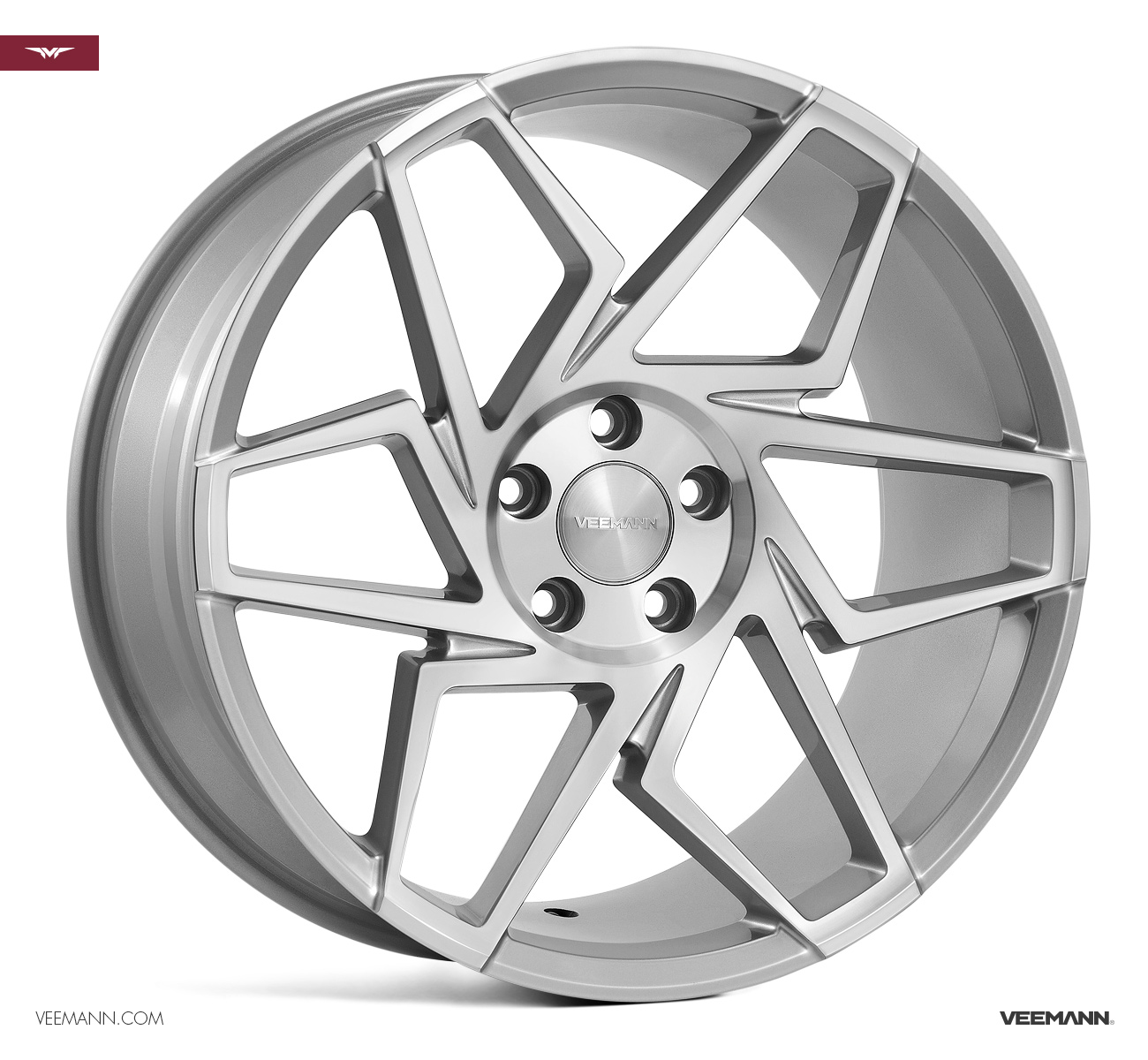 "NEW 19"" VEEMANN V-FS27R ALLOYS IN SILVER POL WITH WIDER 9.5"" REARS"