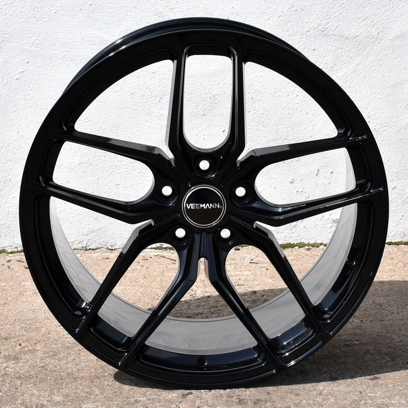 "NEW 19"" VEEMANN VC03 ALLOY WHEELS IN GLOSS BLACK WITH POLISHED FACE, WIDER 9.5"" REARS"
