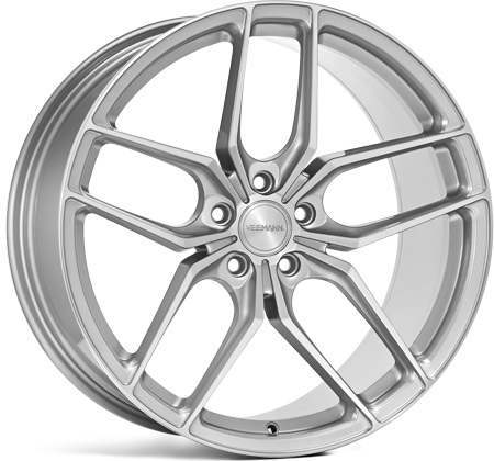 "NEW 19"" VEEMANN VC03 ALLOY WHEELS IN QUARTZ SILVER WITH POLISHED FACE, WIDER 9.5"" REARS ET35/45"