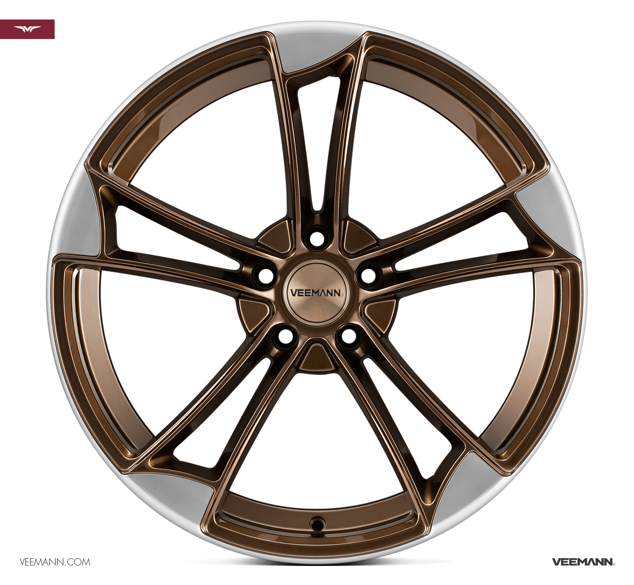 "NEW 19"" VEEMANN VM1 QUATTRO RS ALLOY WHEELS IN CRYSTAL BRONZE WITH POLISHED EDGE ET25"