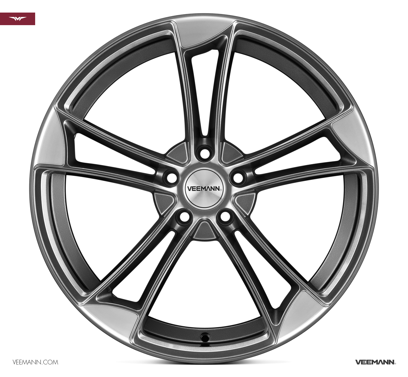 "NEW 19"" VEEMANN VM1 QUATTRO RS ALLOY WHEELS IN GUNMETAL WITH POLISHED EDGE ET25"
