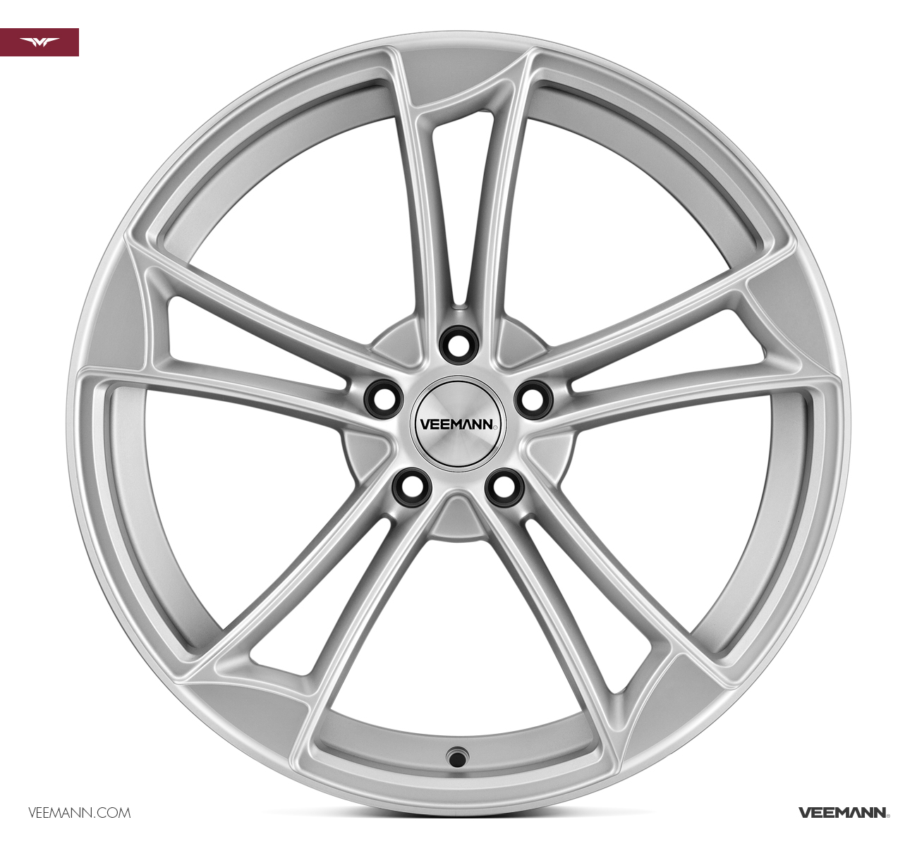 "NEW 19"" VEEMANN VM1 QUATTRO RS ALLOY WHEELS IN MATT SILVER WITH MATT POLISHED EDGE ET25 OR ET35"